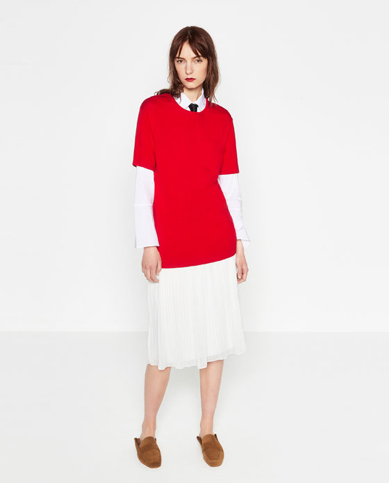 zara, white dress, shirt, blouse, pleated skirt, layered red top, ted tshirt,