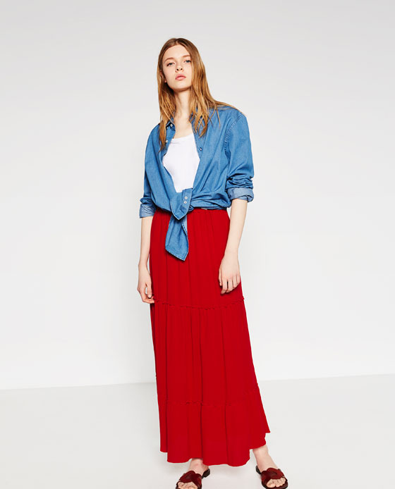 zara, red maxi skirt, red, layering denim shirt, white t-shirt, basic. outfits, layering
