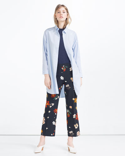 zara, printed pants, floral print, layering blue shirt, women