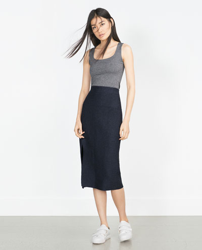 zara, tank top, dark gray, black skirt, outfit,