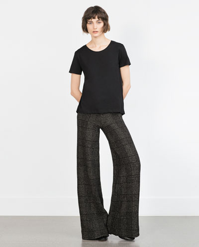 zara, wide leg pants, black tee. black tshirt, total black outfit, ideas,