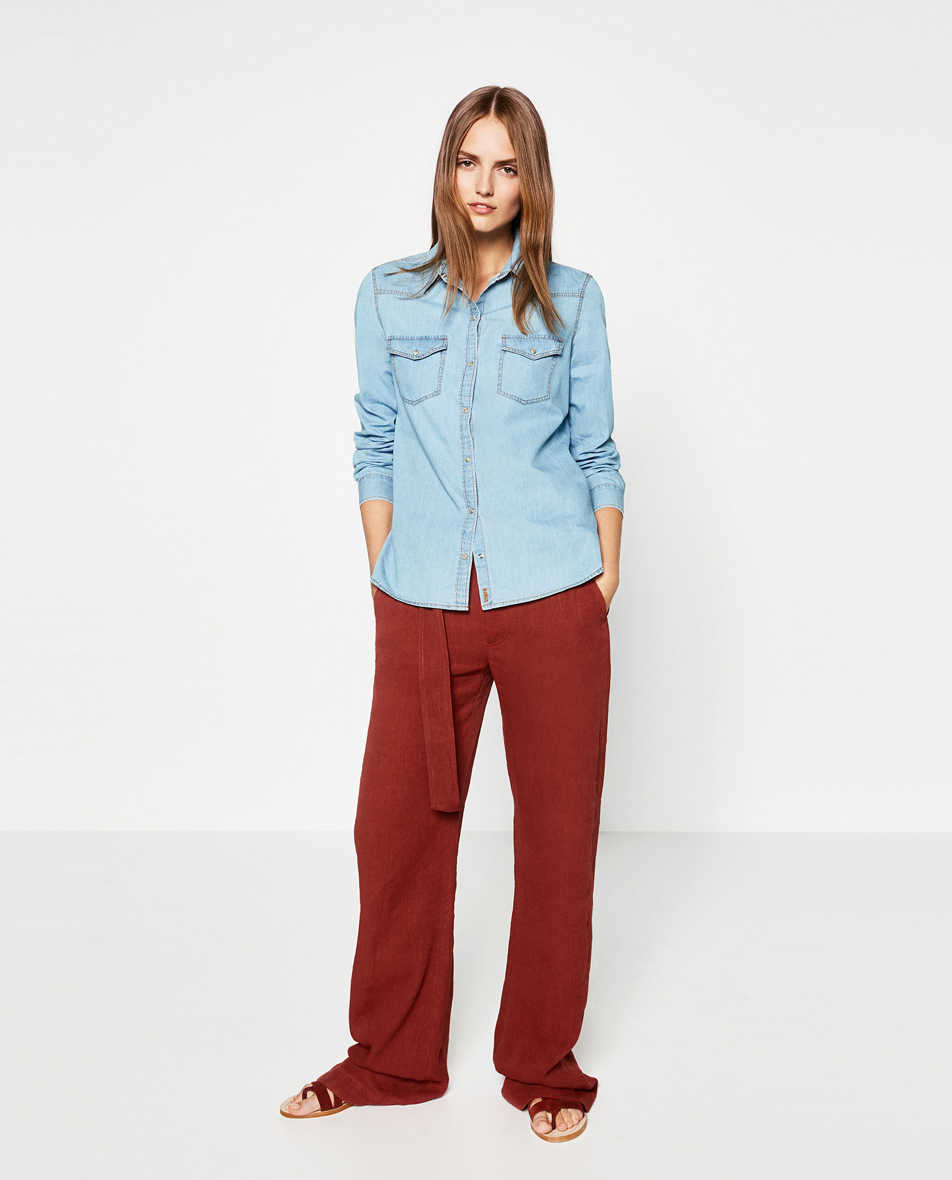 basics, zara, red trousers, wide leg, denim shirt, outfit, ideas,