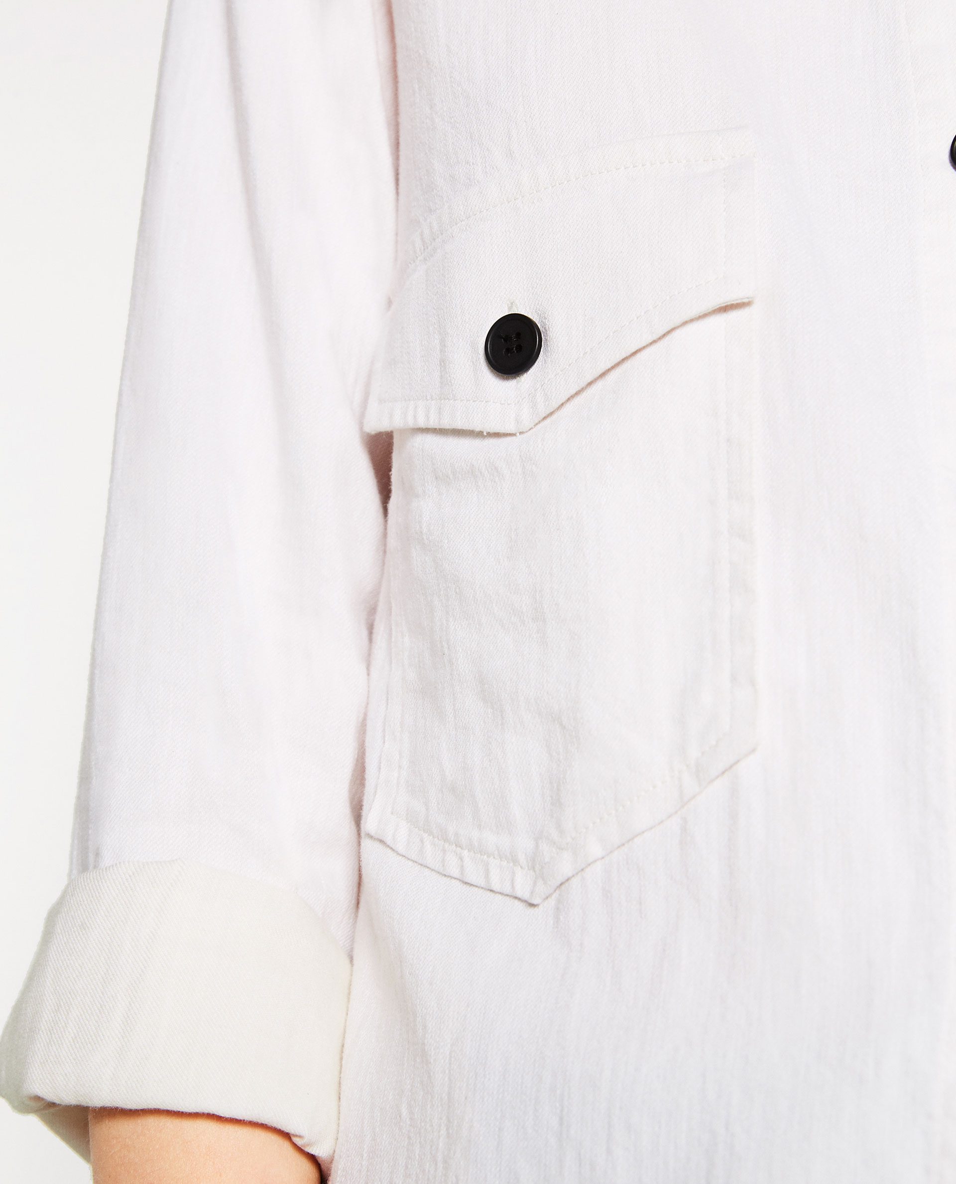 zara, white shirt, detail, cuffed sleeve