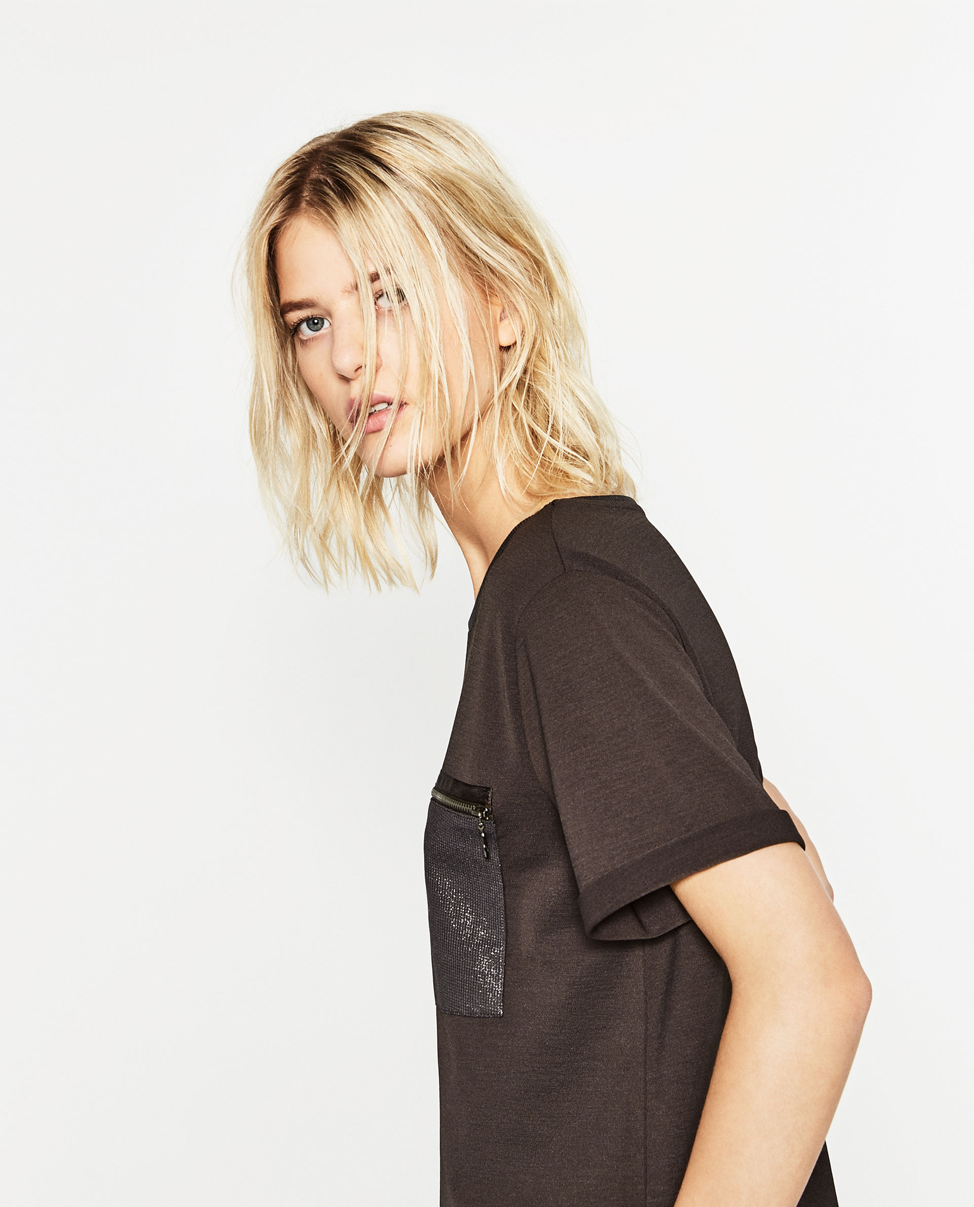 zara, black tshirt, cuffed sleeve