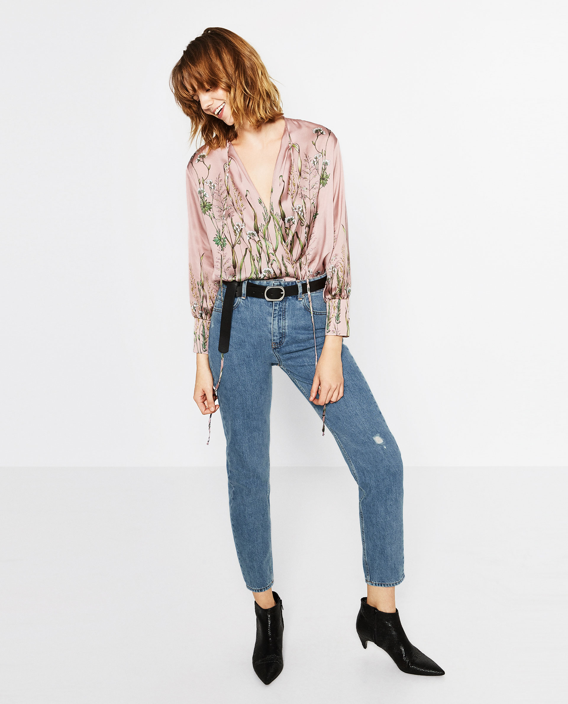zara, body, skinny jeans, printed top,