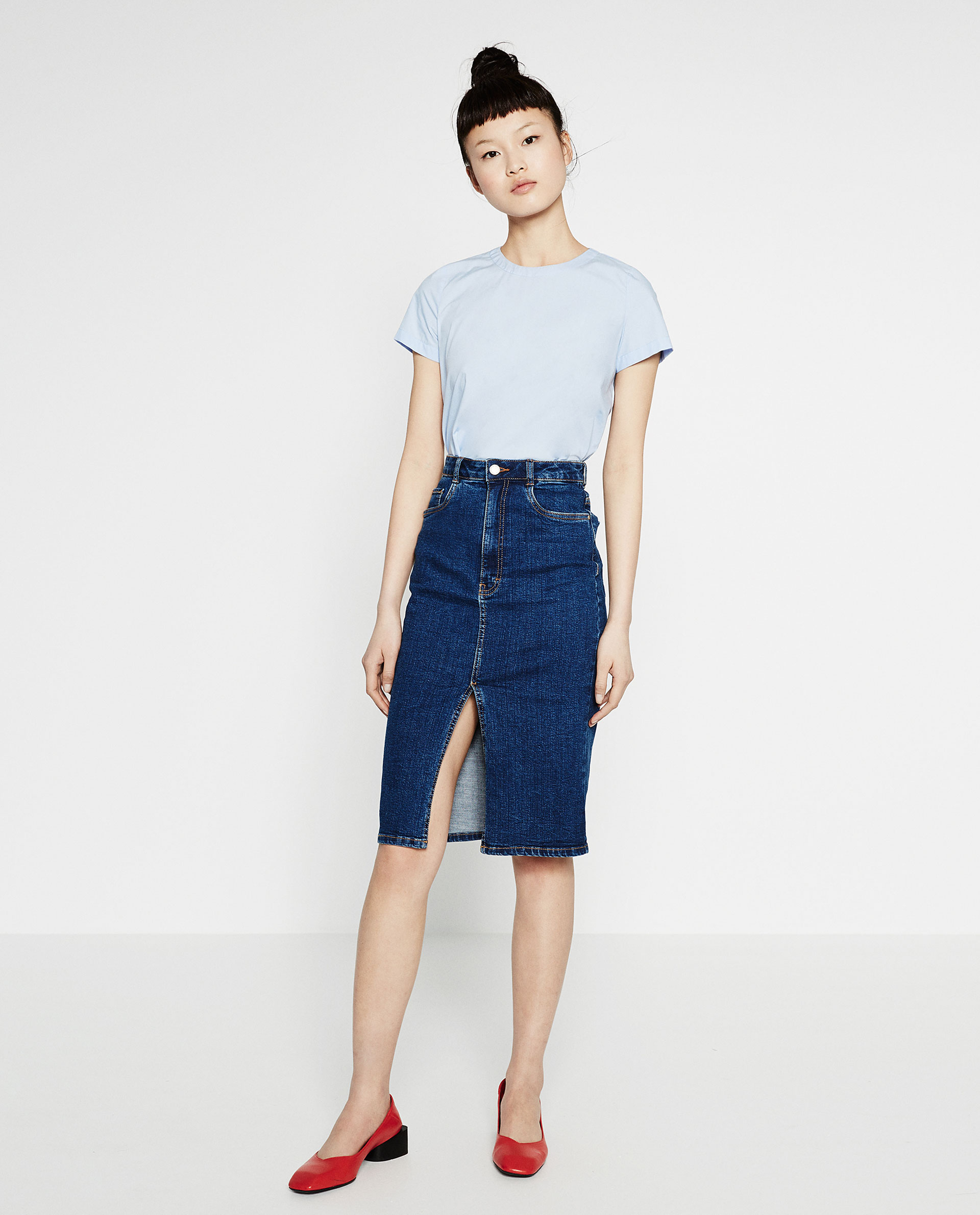 zara, denim skirt, midi skirt, pencil skirt, basic top, basic tshirt