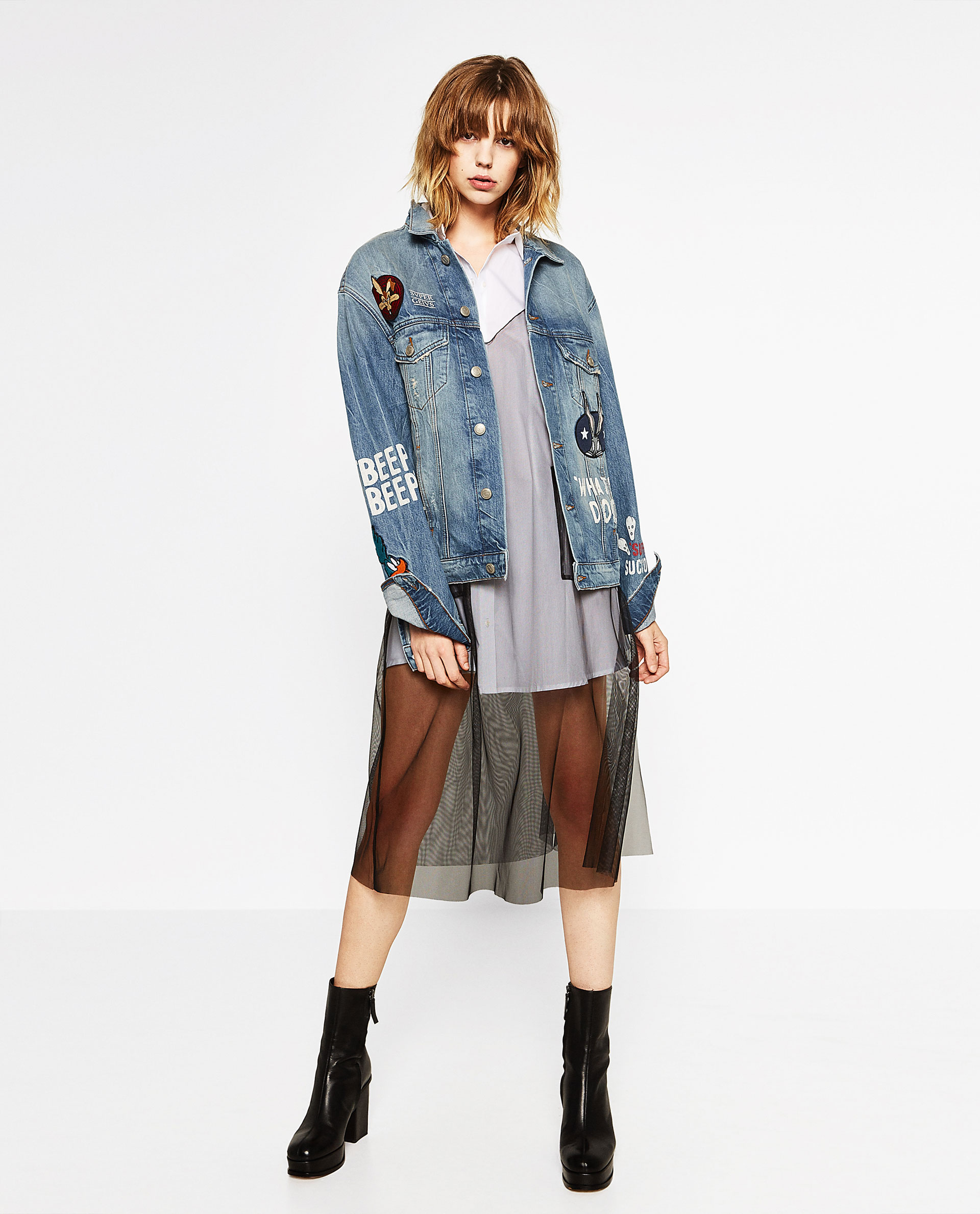 zara, layering, denim jacket mesh dress, white tshirt, ankle boots, outfit ideas