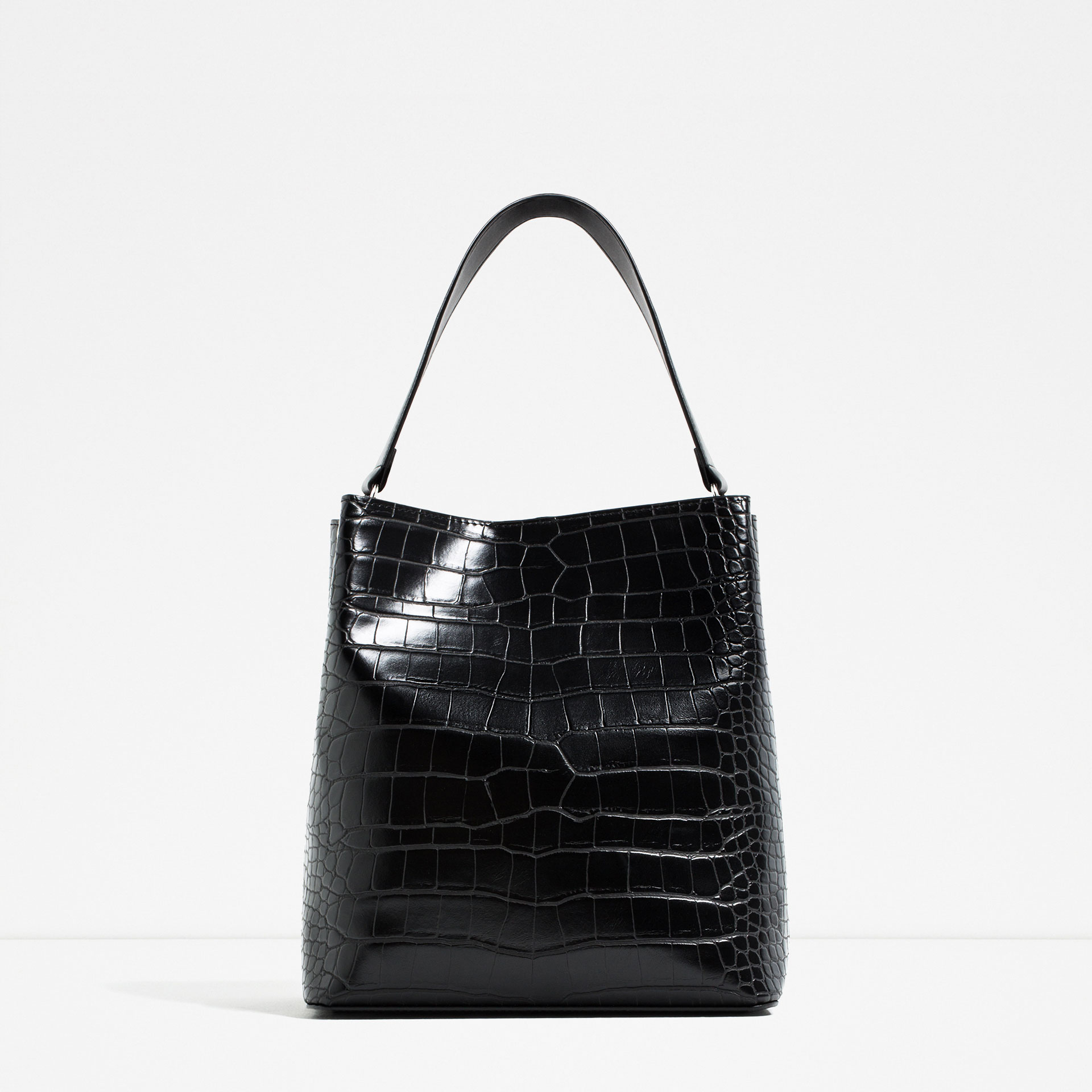 black, shoulder bag, zara, structured, croc,