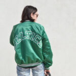 outfit, bomber jacket, celtics, vintage, boyfriend jeans, white canvas sneakers, wayfarers loewe dupe bag, daniela soriano