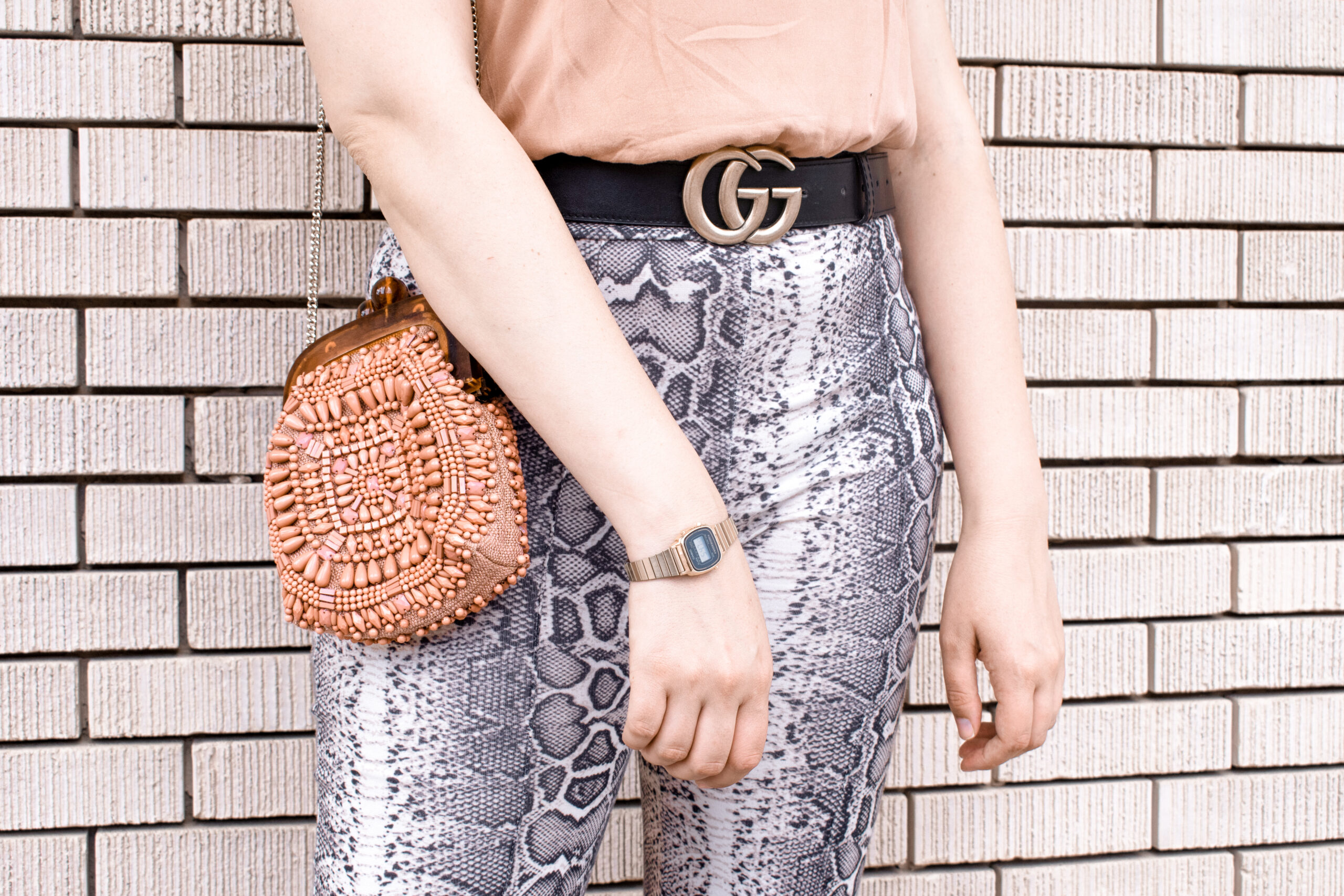 animal print, snake print, flared pants, outfit, ideas, beaded bag, gucchi belt, luxury brands, ootd