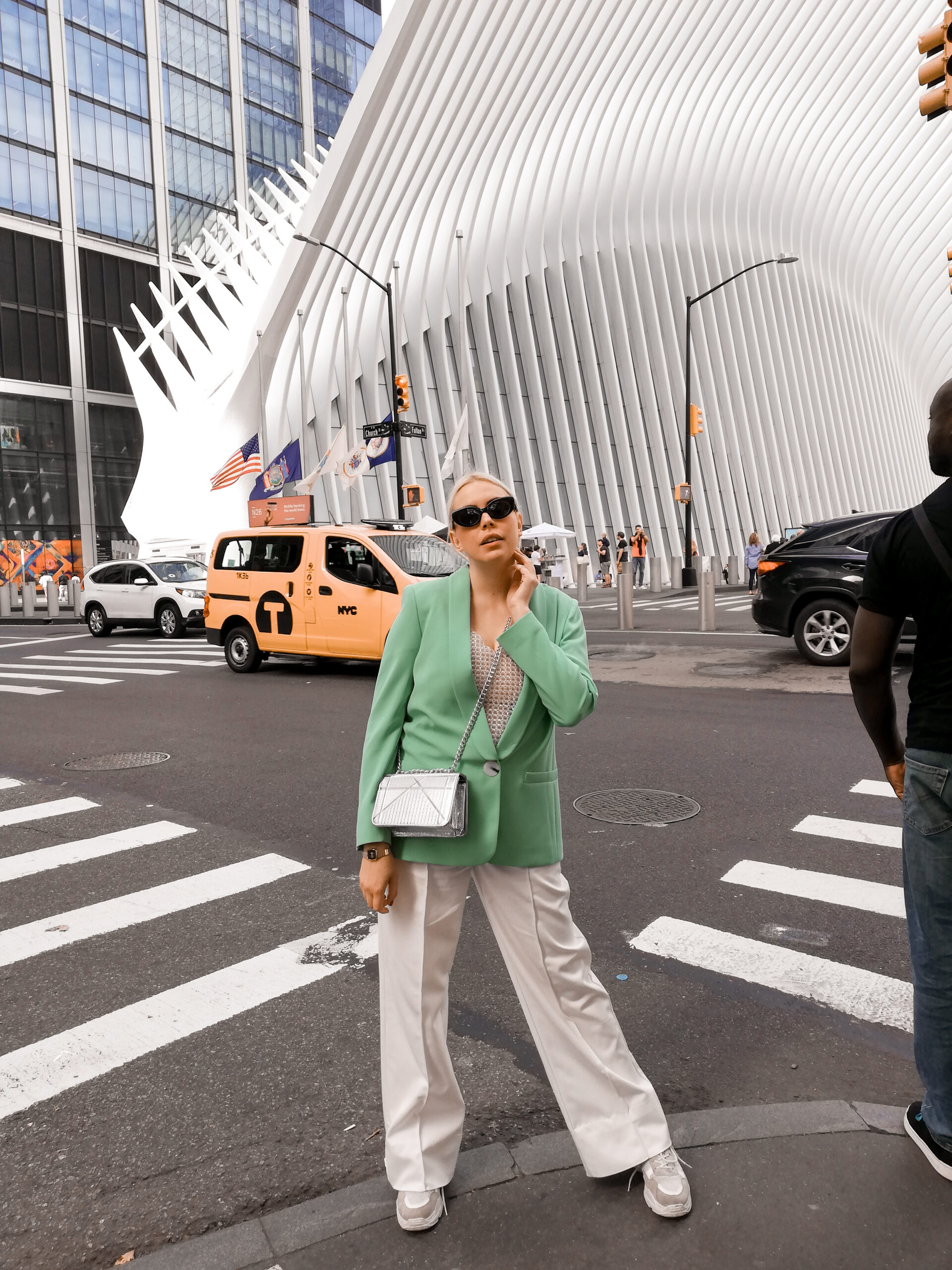 daniela soriano, ny, nyc, the oculus, nyfw, street style, ootd, outfit, mint blazer, wide leg pants, silver bag, dior bag dupe,