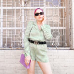 daniela soriano, outfit, romper, jumpsuit, silky, satin, pj inspired, green, striped, lilac clutch, gucci belt, luxury brands, forever 21 romper,