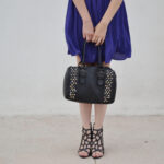 forever 21 dress, purple dress, cutout heels, aldo bag, aldo shoes, studded bag, outfit, daniela soriano