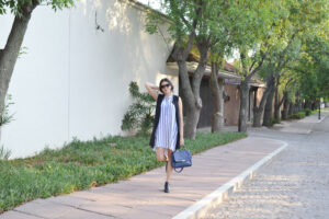outfit, dress, blue stripes, long waistcoat, outfit ideas, ankle boots