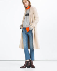 zara, cropped jeans, booties, camel coat, gray sweatshirt, layering, outfit ideas