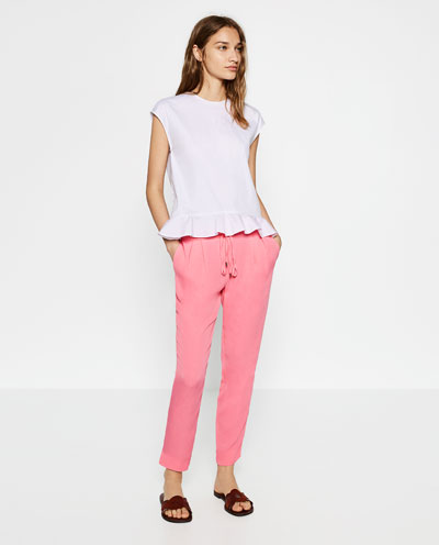 pink chinos, zara, bubble gum pink, white top, zara, outfit ideas,