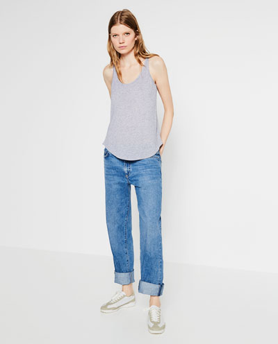 zara, tank top, gray, basic, boyfriend jeans