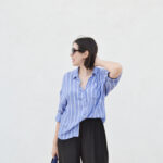 zara, stripped shirt, blue, outfit, ideas, daniela soriano, silver sandals