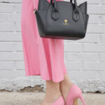 daniela soriano, monochromatic outfit, total pink, pink culottes, zara, pink heels, cat shaped bag, zaful, outfit, ideas,