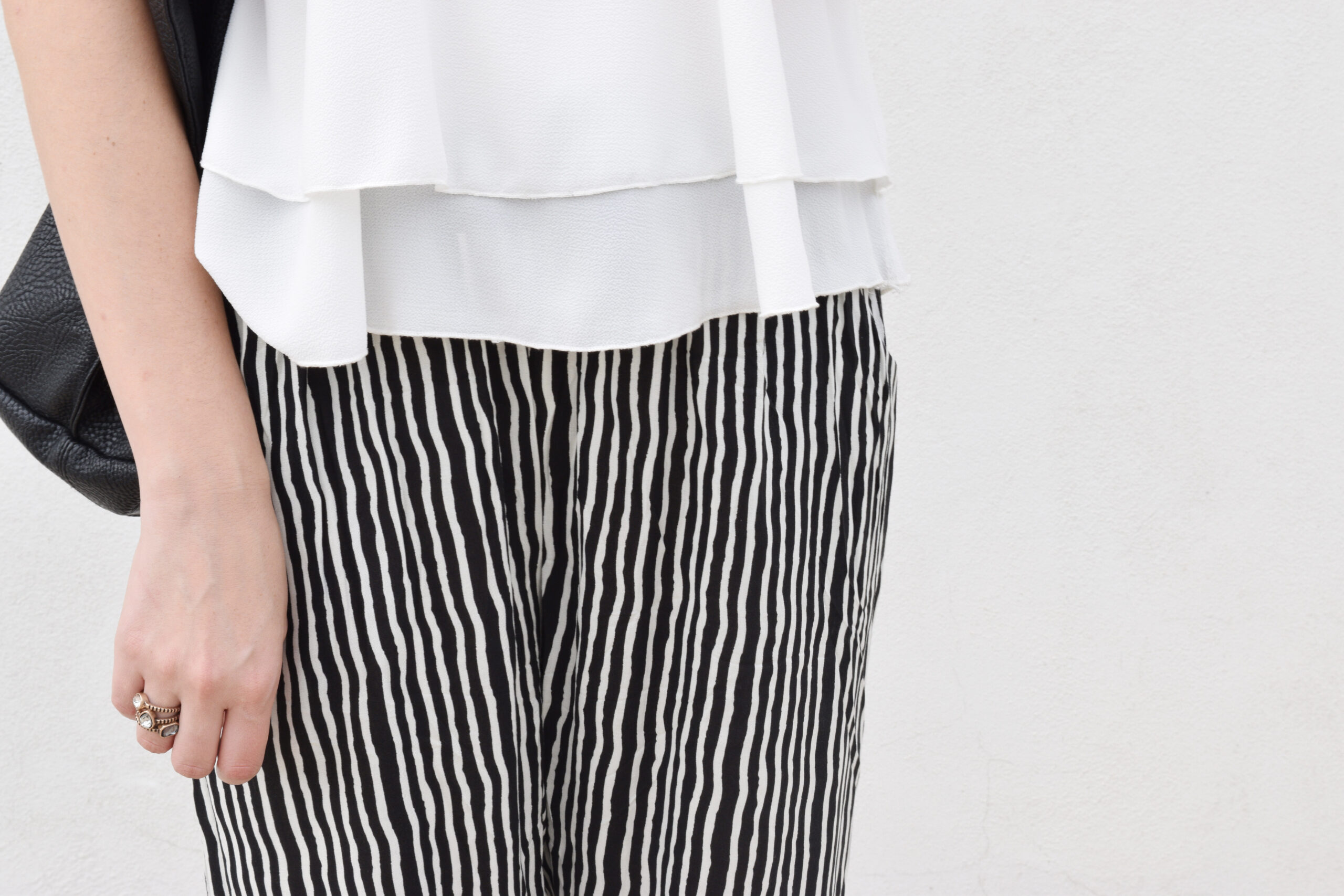 daniela soriano, outfit, printed pajama pants, pj pants, inspired, black and white outfits, cut out heels, white top, minimal look,