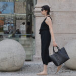 jumpsuit, culottes, black, zara, structured bag, nude flats,