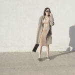 daniela soriano, velvet, dress, long cardigan, tan, camel, metallic sneakers, slip on, outfit, ideas