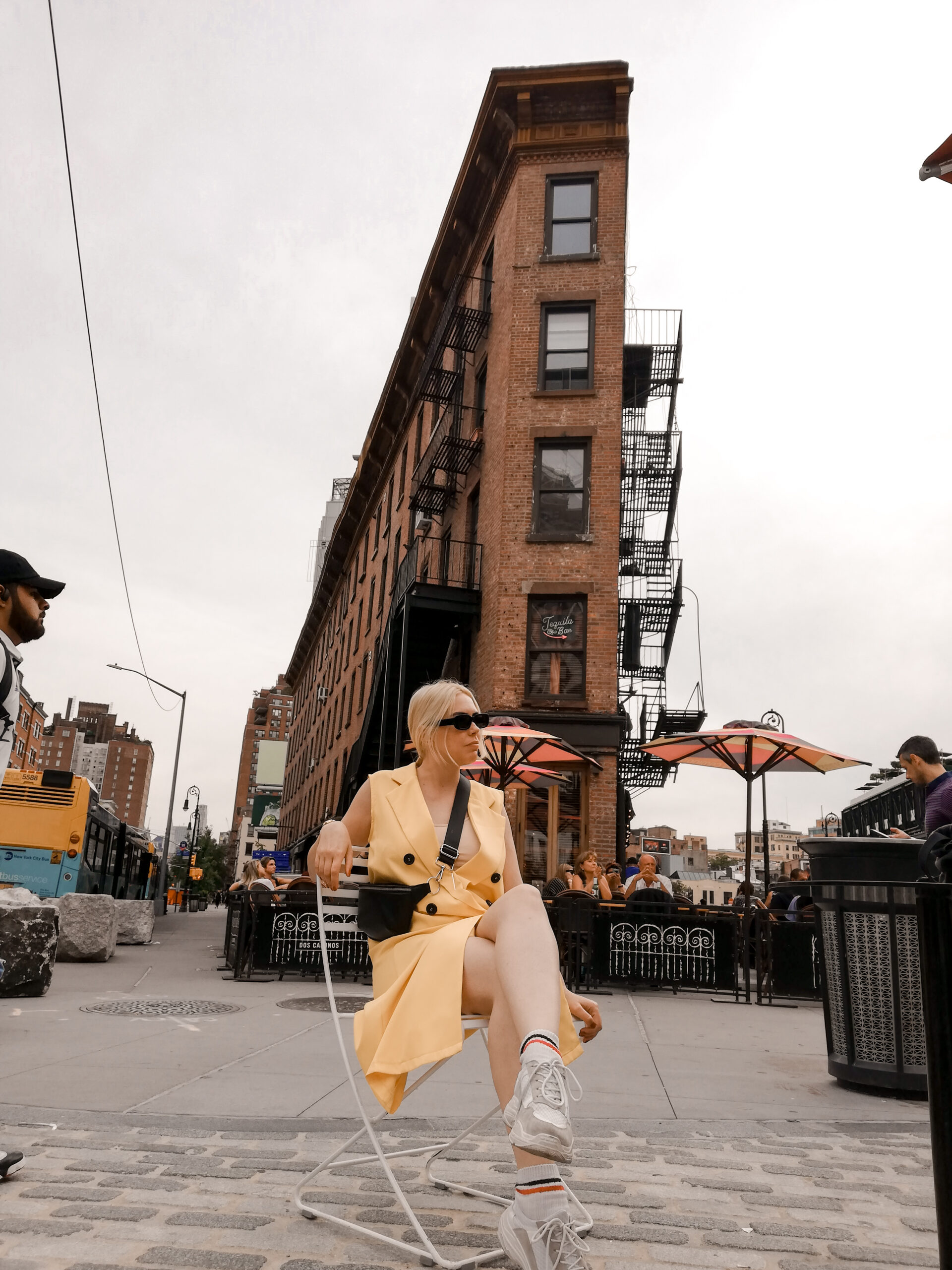 ny, nyfw, outfit, ideas, yellow, dress, blazer dress, outfit ideas,