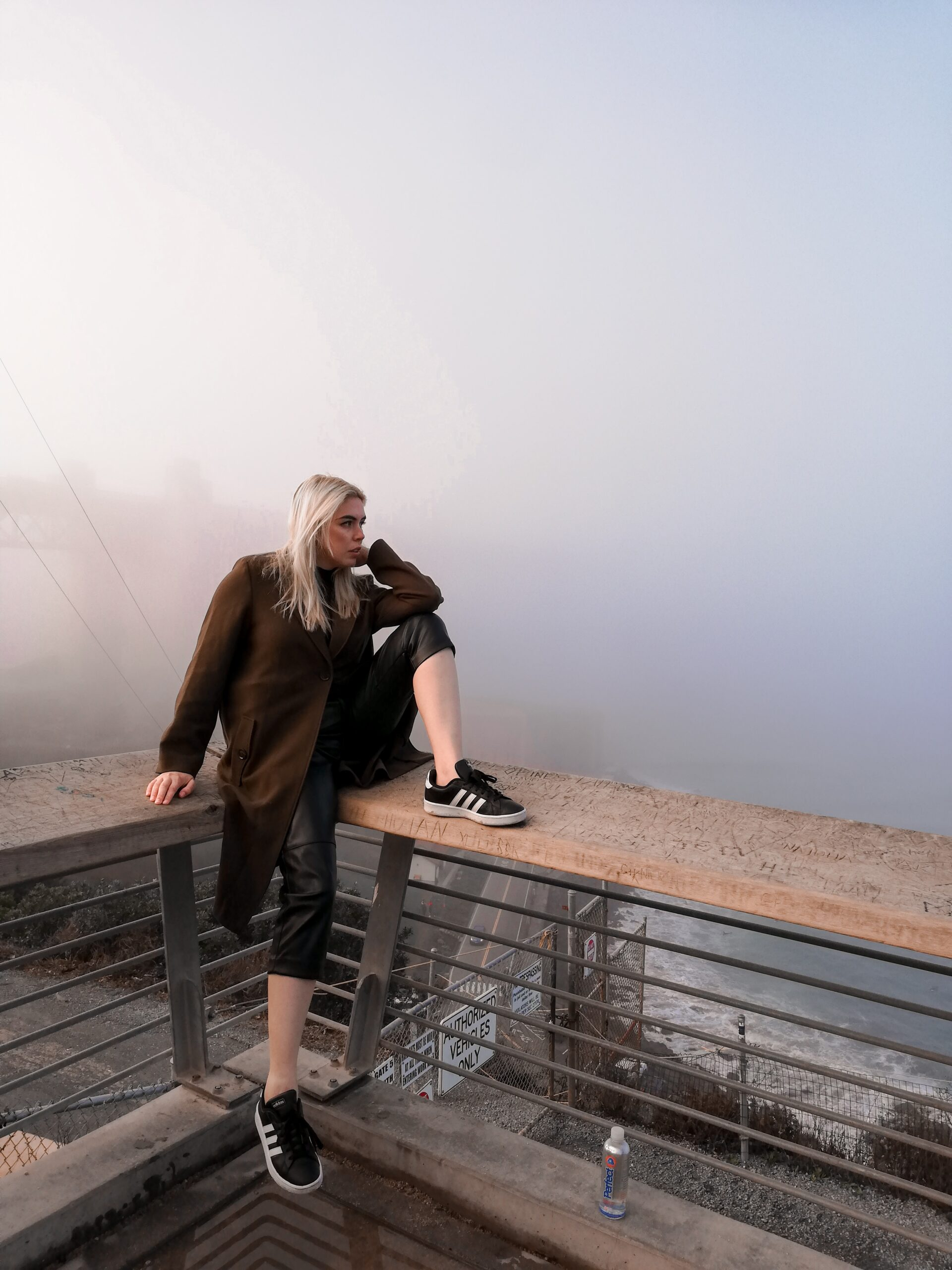 daniela soriano, san francisco, california, golden gate bridge, golden gate park, the fog, leather pants, vegan leather, adidas sneakers, black