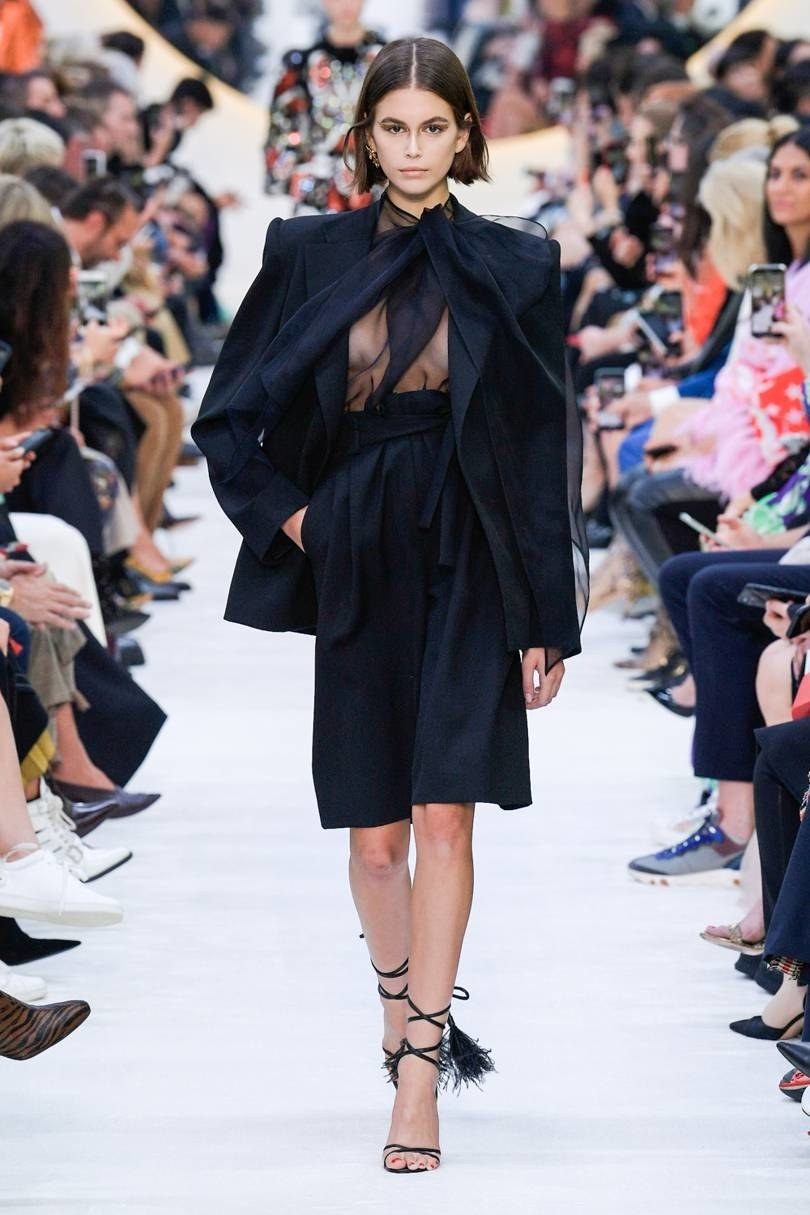valentino, 2020, total look, black, see through top, shorts,